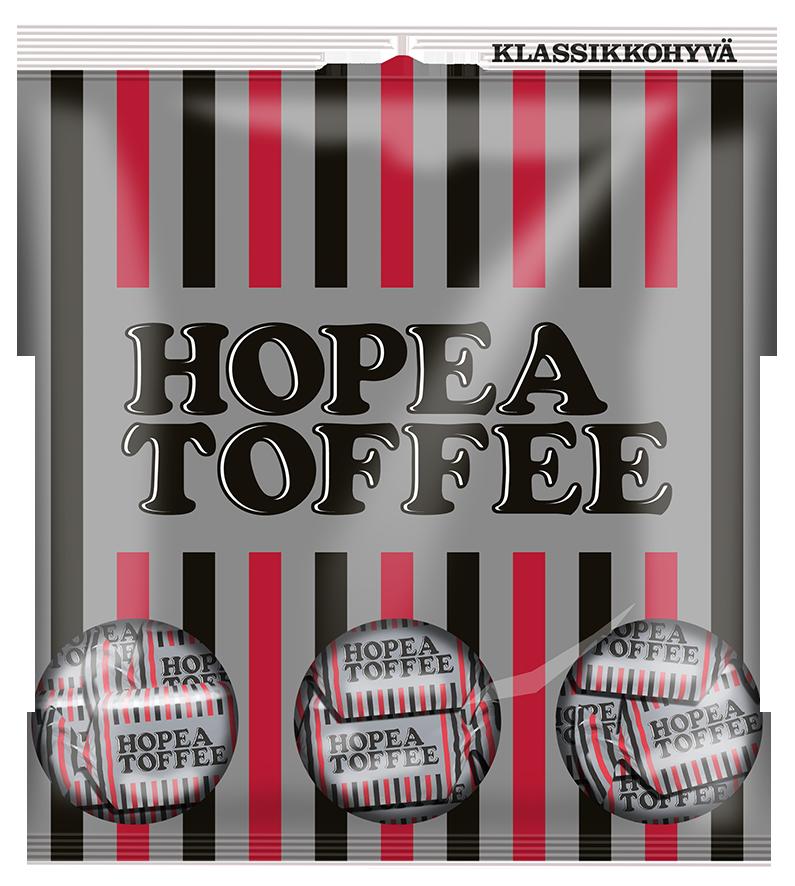 Hopea Toffeen historia yltää 1970-luvulle, jolloin sitä myytiin pitkulaisena lituskapötkönä. Kuvassa vuoden 2013 pussimalli. Foto: Cloetta