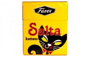 Salta katten -askipastilli on ollut Ruotsin markkinoilla jo vuosikymmeniä. Kuva: Fazer.se